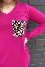 Red Door V-neck top with leopard pocket