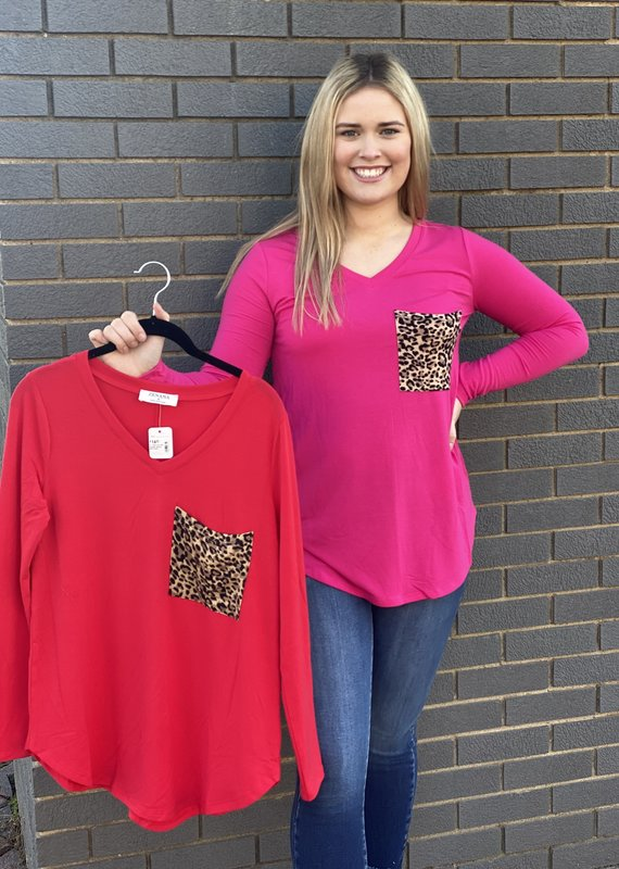 Red Door V-neck top with leopard pocket