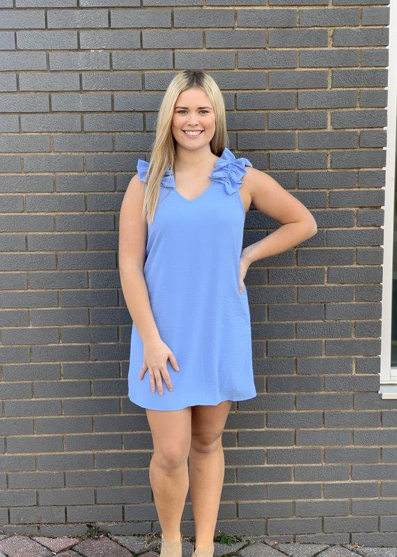 Red Door Blue ruffle shoulder dress