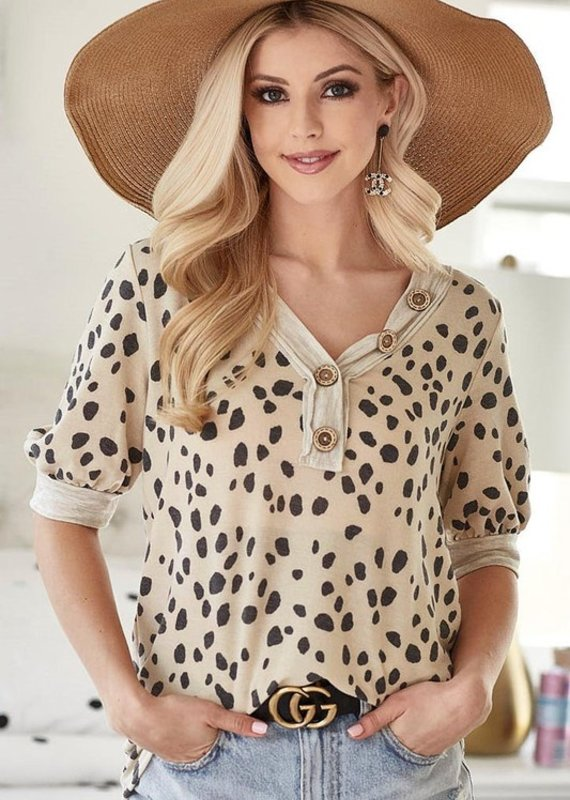 Red Door Taupe dalmatian print button detail top