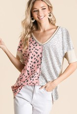 Red Door Blush/ivory leopard waffle knit top