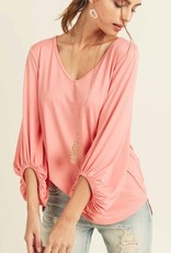 Red Door V neck top with balloon sleeves