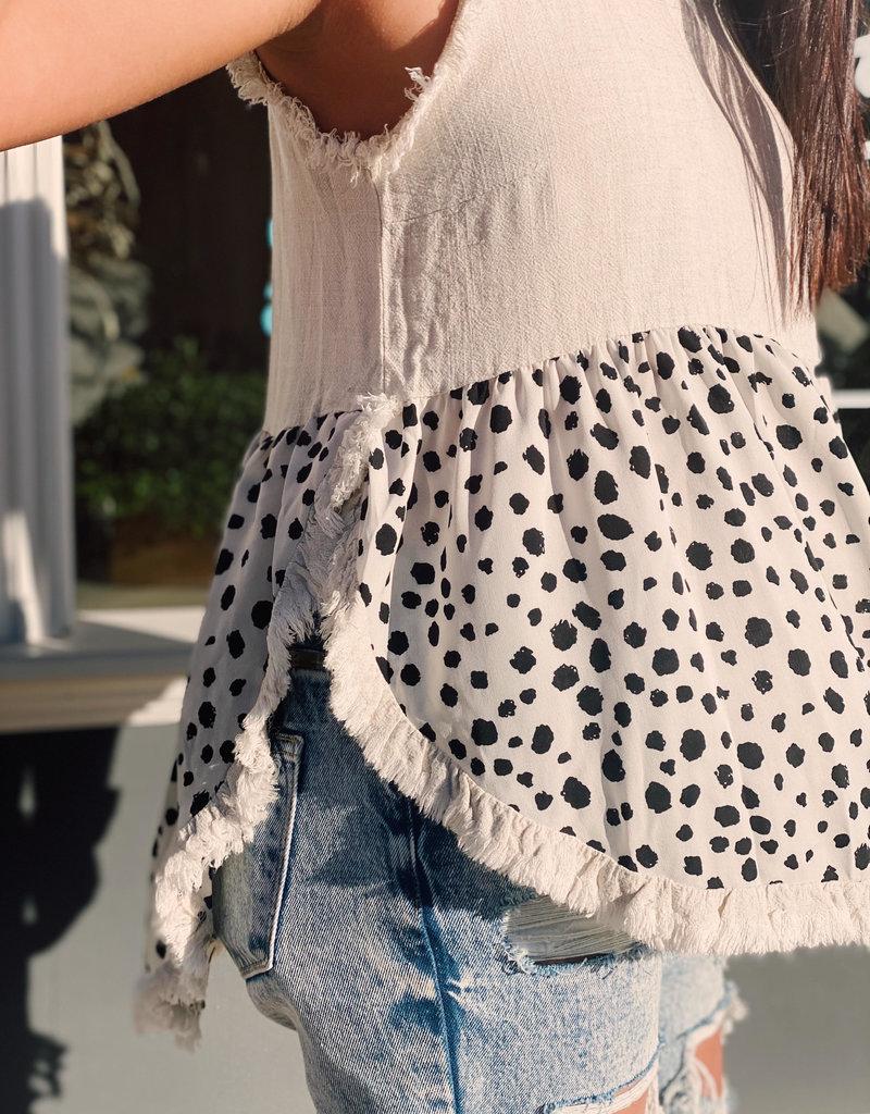 Red Door Linen sleeveless top with dalmatian print
