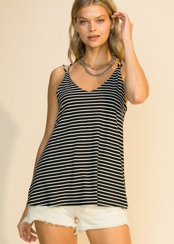 Red Door Striped tank top with strap detail