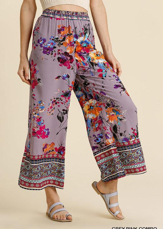 Red Door Grey pink floral combo pants