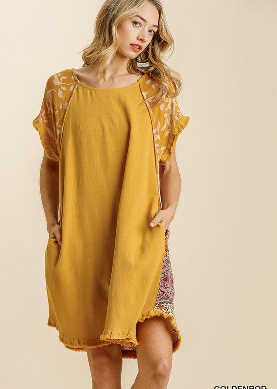 Red Door Mustard linen dress with paisley print