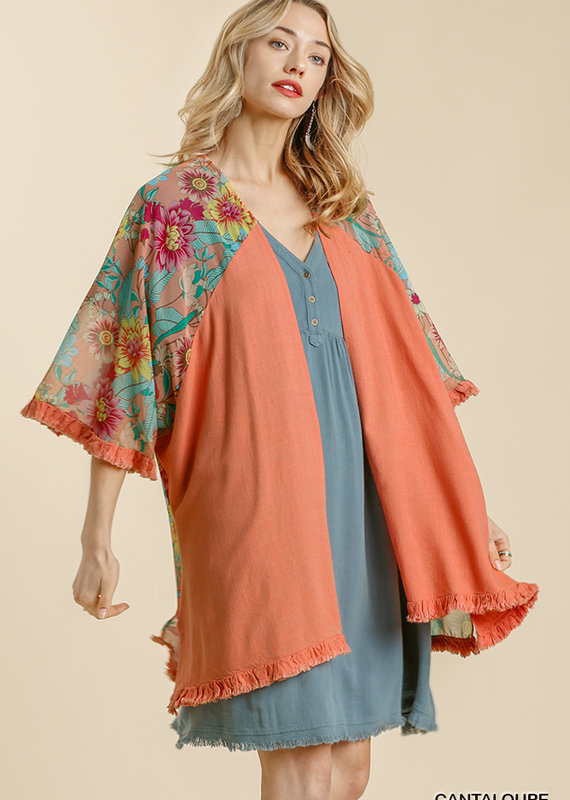 Red Door Salmon linen cardigan with floral back