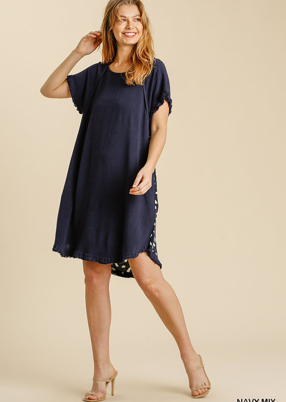 Red Door Navy linen dress with spotted back