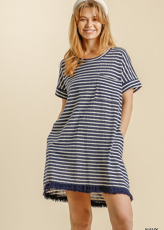 Red Door Navy and white striped pocket dress