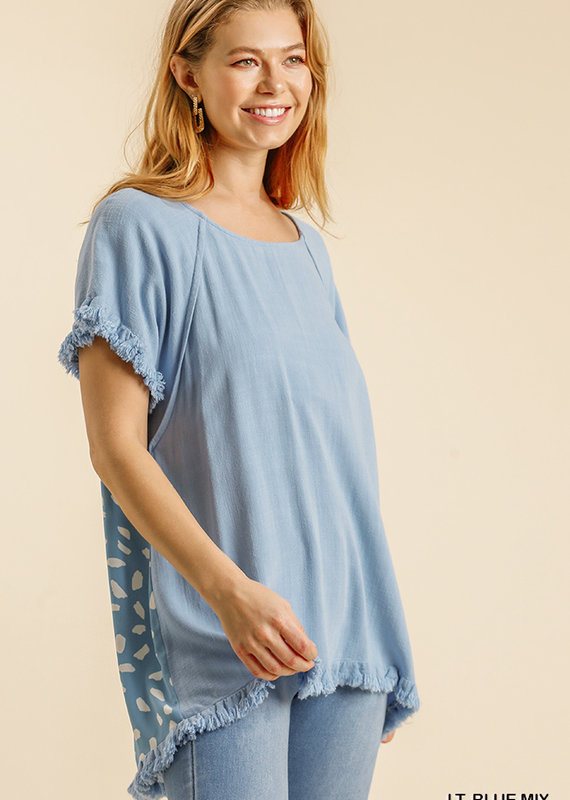 Red Door Blue linen top with spotted back