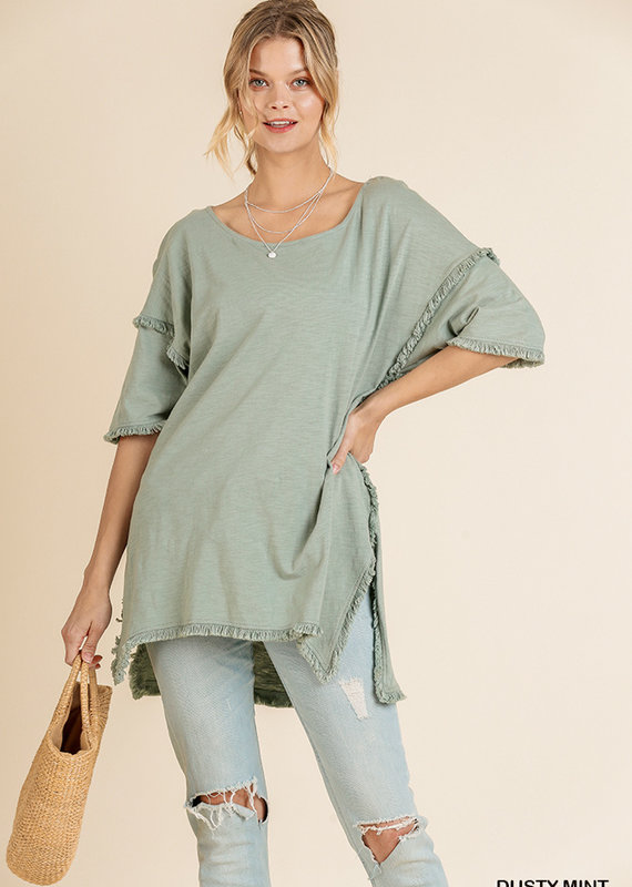 Red Door Dusty mint fringe hem tunic