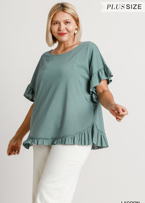 Red Door Green butterfly sleeve top with raw hem