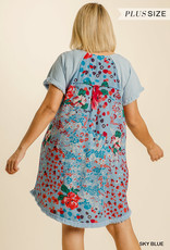 Red Door Baby blue linen dress with printed back