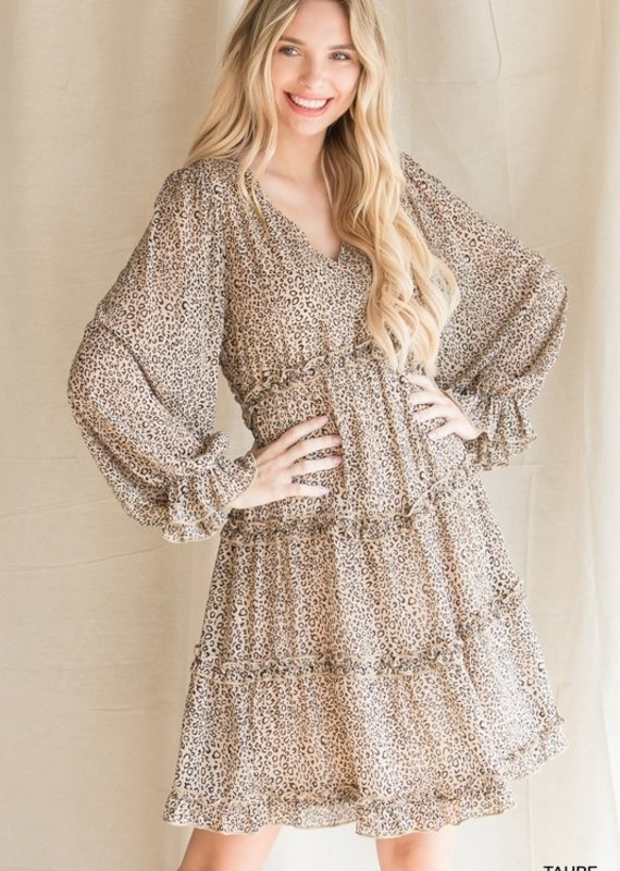 Red Door Taupe leopard print open back dress