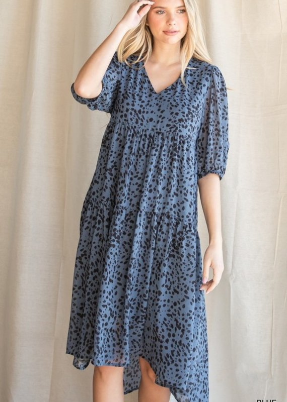 Red Door Blue spotted tiered puff sleeve dress