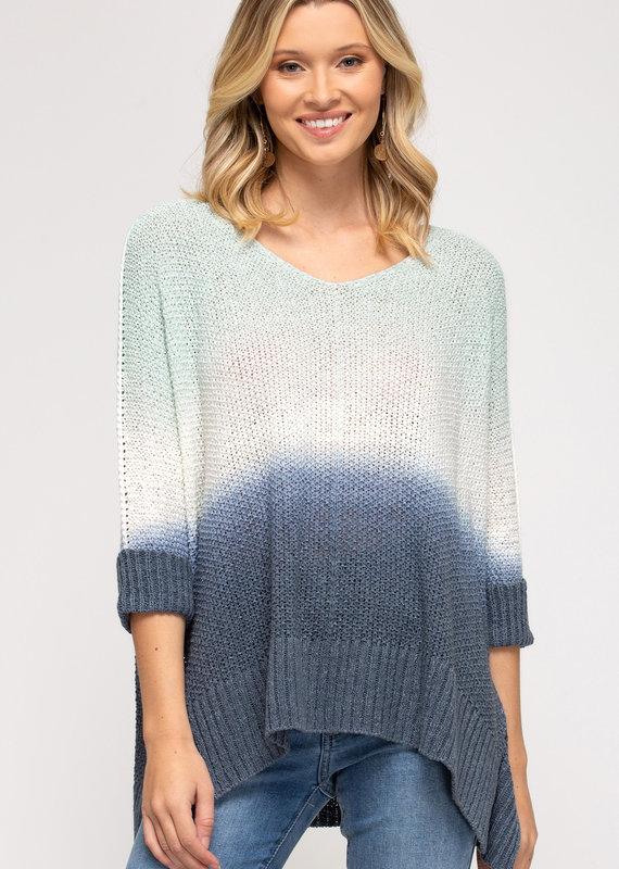 Red Door Mint/Navy three quarter sleeve knit top