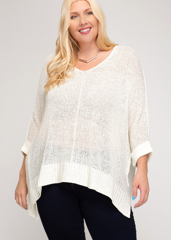 Red Door White three quarter sleeve knit sweater top