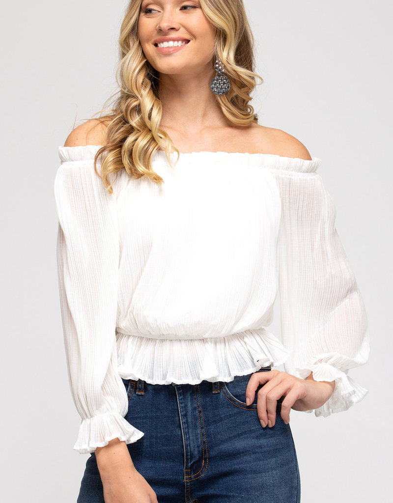 Red Door White off the shoulder pleated top