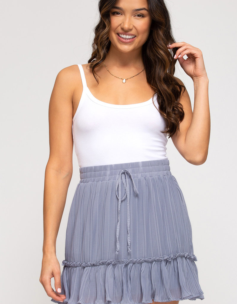 Red Door Misty blue pleated skirt