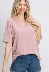 Red Door Pink v-neck knit top