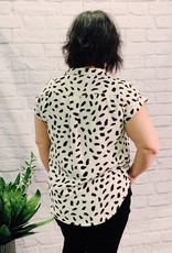 Red Door White dalmatian v neck pocket top
