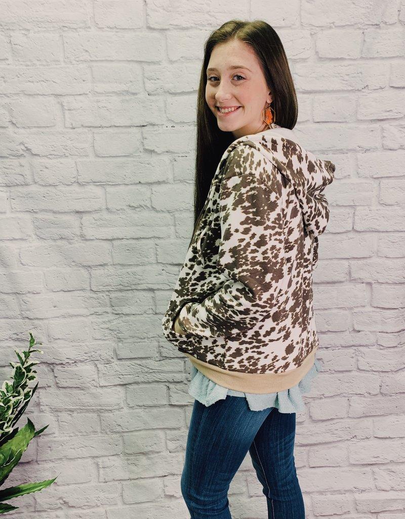 Red Door Cow Print front zipper jacket