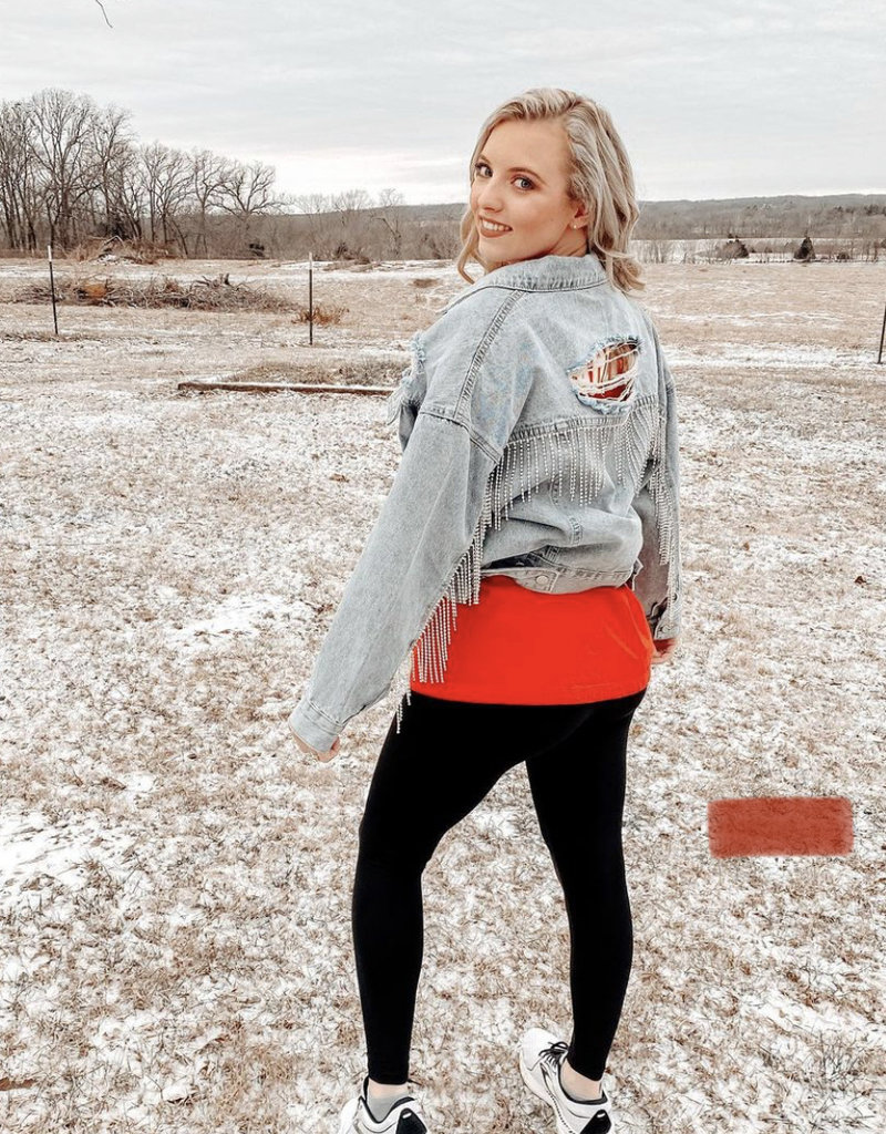 Red Door Light denim Jacket with rhinestone fringe