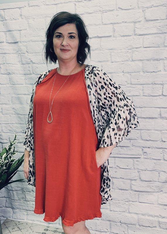 Red Door White sheer leopard metallic kimono