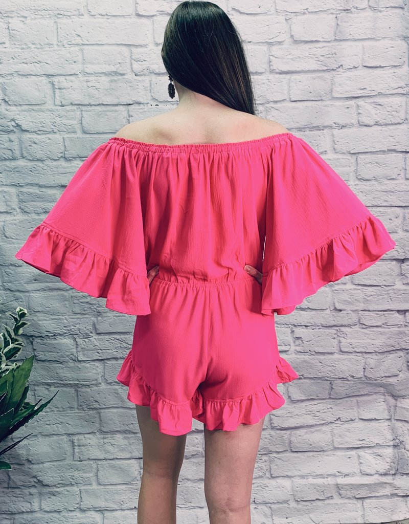 Red Door Hot pink ruffle off shoulder romper