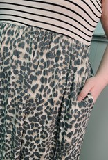 Red Door Leopard maxi tank dress with stripes