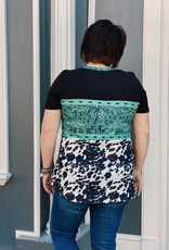Red Door Teal tooled leather and cow print top