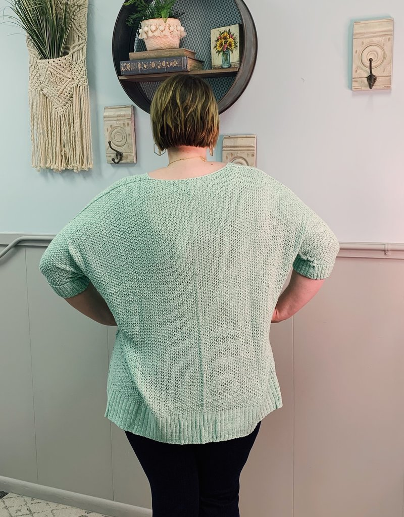 Red Door Mint three quarter sleeve knit top