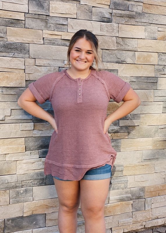 Red Door Mauve waffle knit button tunic