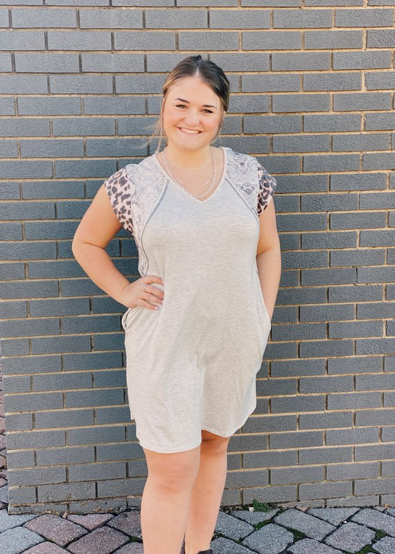 Red Door Heather gray dress with animal print detail