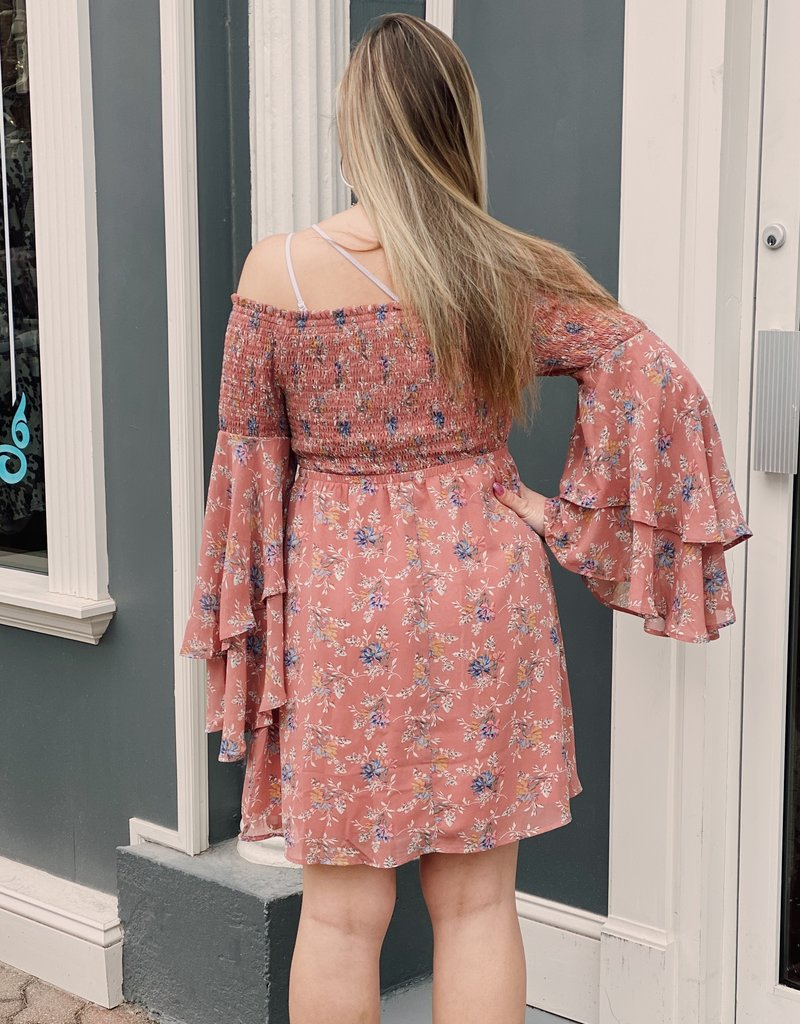 Red Door Mauve floral smocked bell sleeve dress