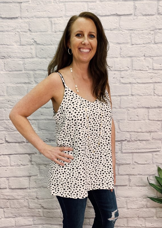 Red Door Dotted spaghetti strap v-neck top