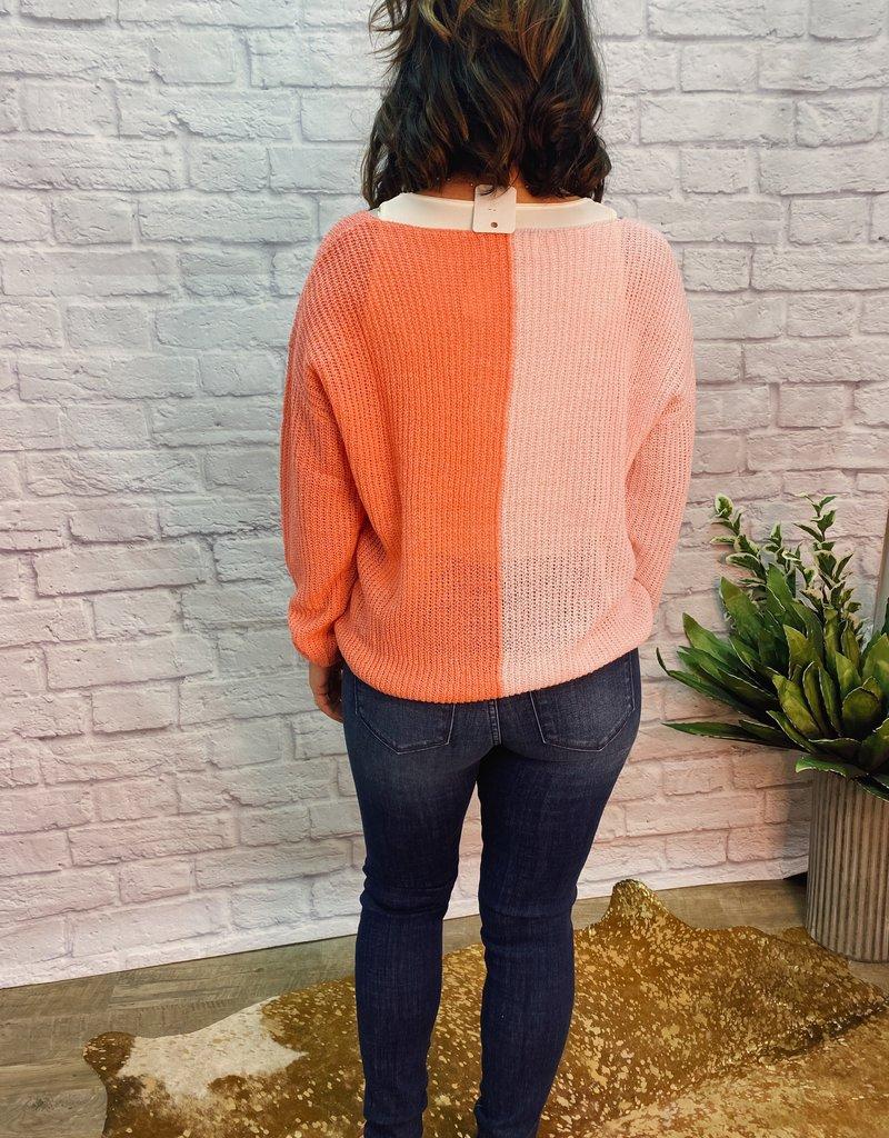 Red Door Pink/Coral color block sweater