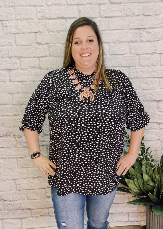 Red Door High neck speckled top w/ cinched sleeves