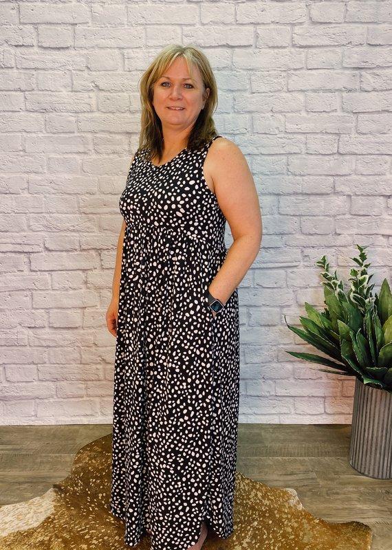 Red Door Black/white polka dot maxi dress