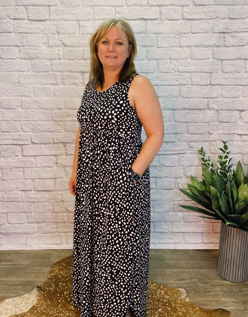 Red Door Black/white polka dot maxi dress