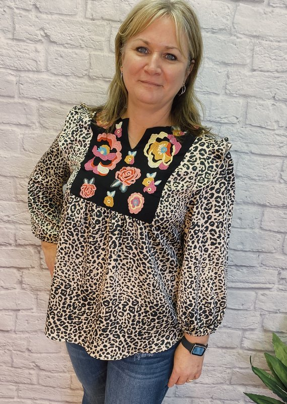 Red Door Leopard top with embroidery chest