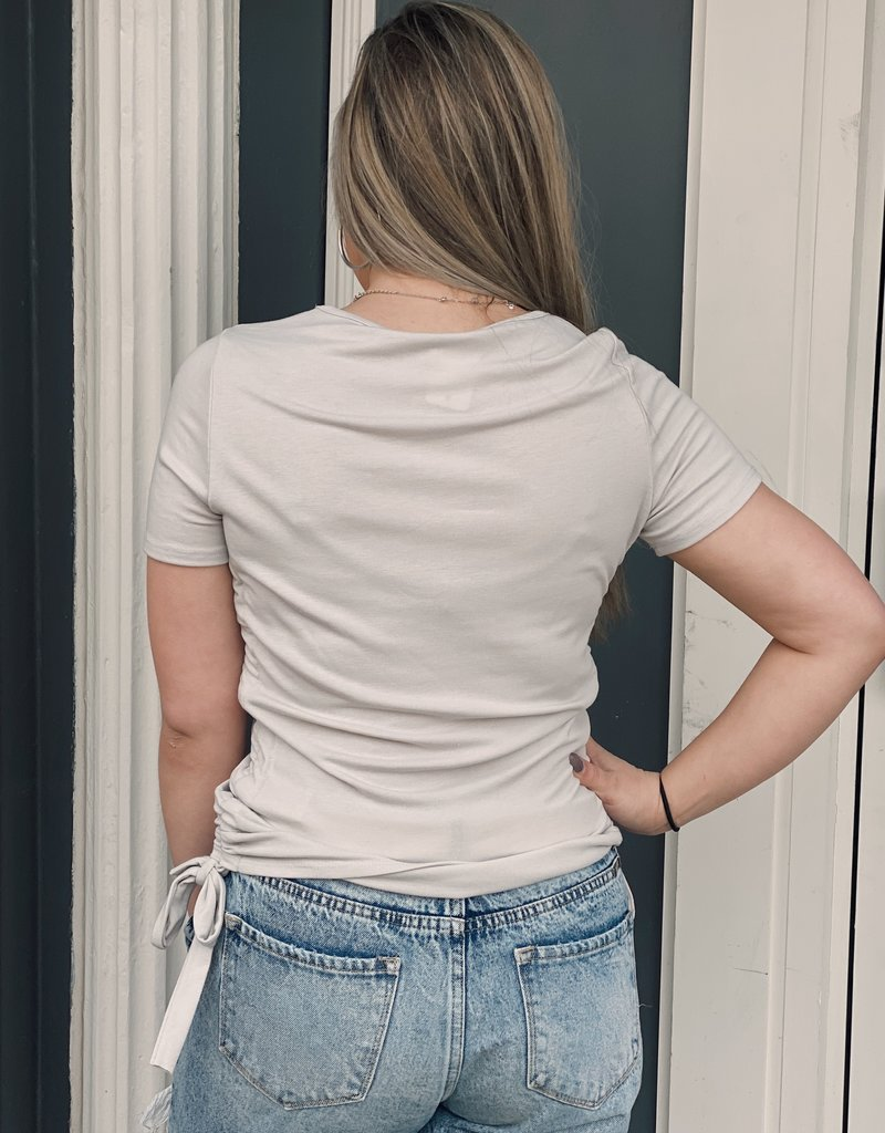 Red Door Gray side ruched detail top