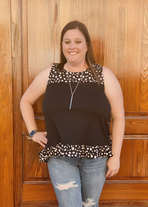 Red Door Black spotted tank top with bow detail