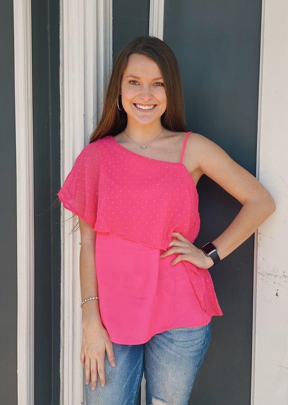 Red Door Hot pink one shoulder shirt