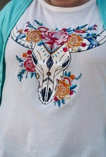 Red Door White top with embroidered cow skull