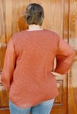 Red Door Rust top with gold stars