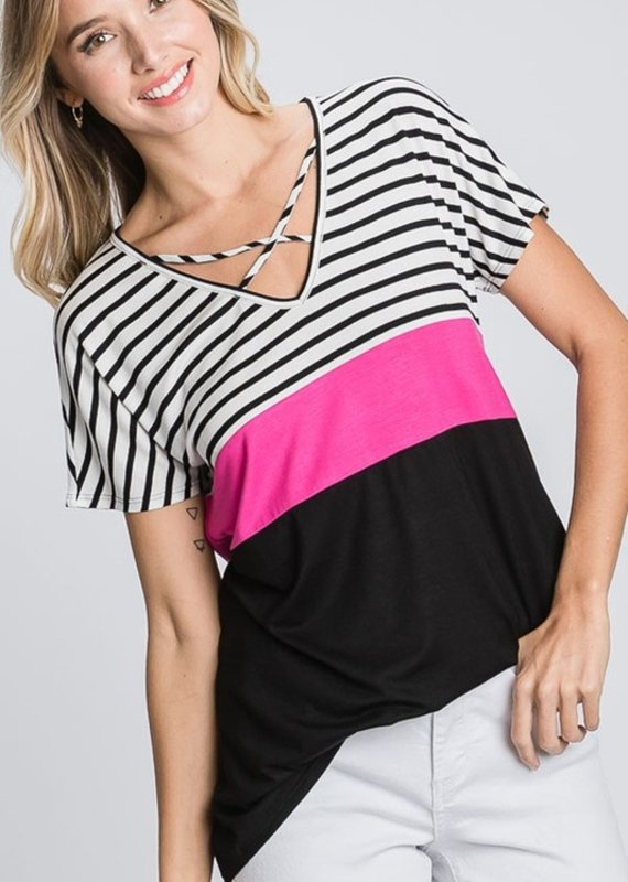 Red Door Black color block top with criss cross