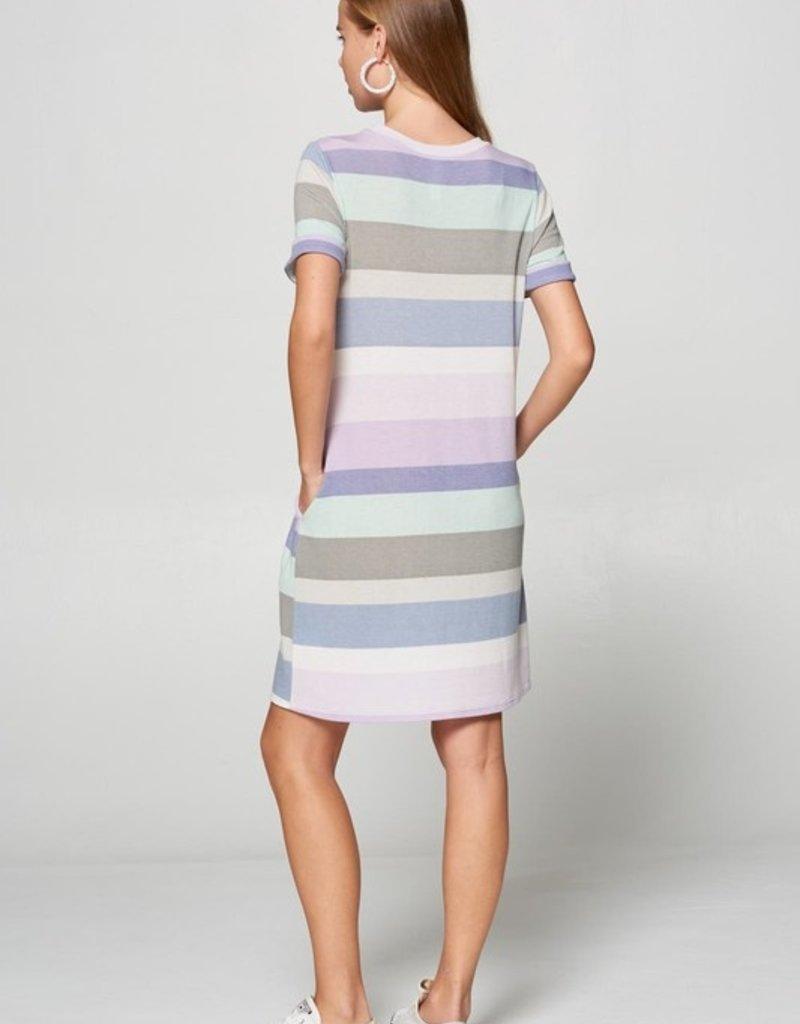 Red Door Blue soft color striped dress
