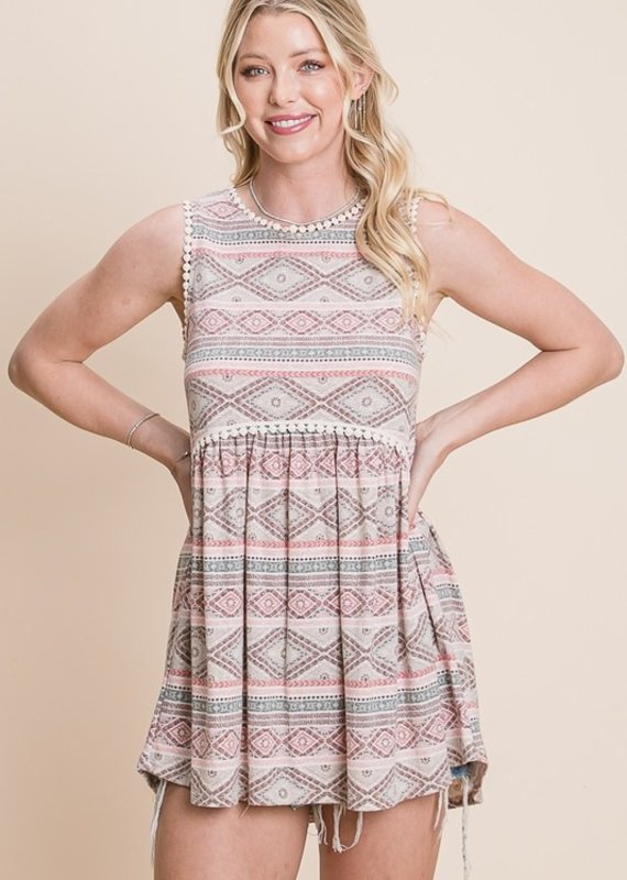 Red Door Pink aztec babydoll top