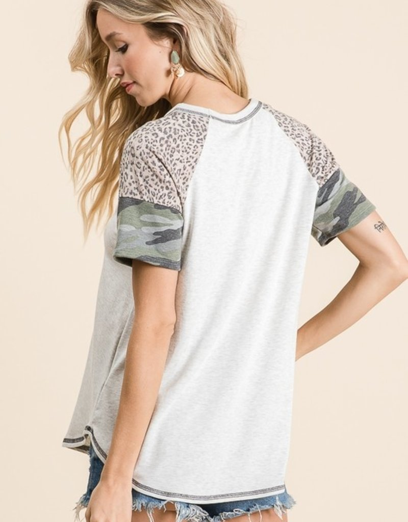 Red Door Heather gray top with leopard and camo sleeves